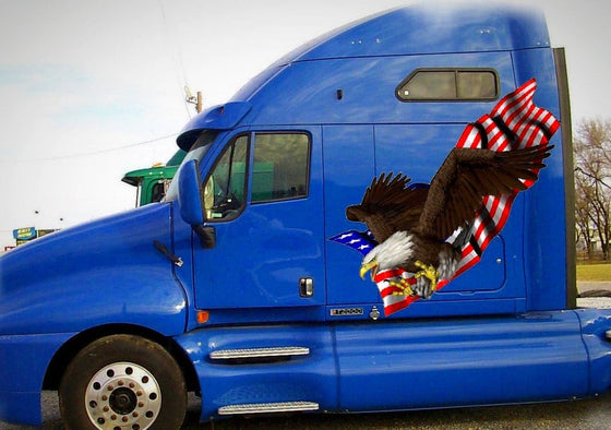 american falg eagle talons graphics on blue semi truck
