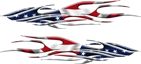 american flag flame auto decal kit
