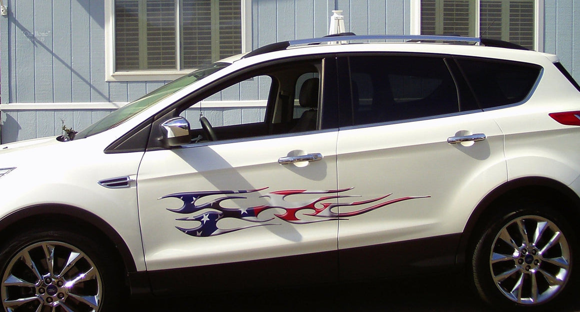 american flag flame decal on white suv
