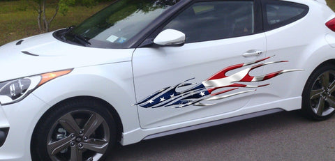 american flag flame hatch back decal b763