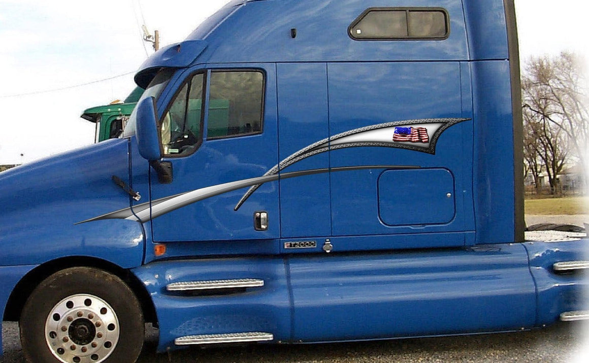 american flag graphic stripes on blue semi truck