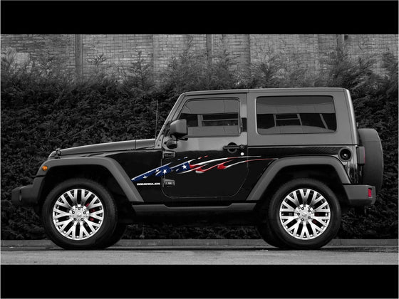 american flag vinyl graphics on black jeep
