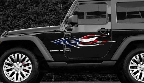american flag flame vinyl graphics on white car