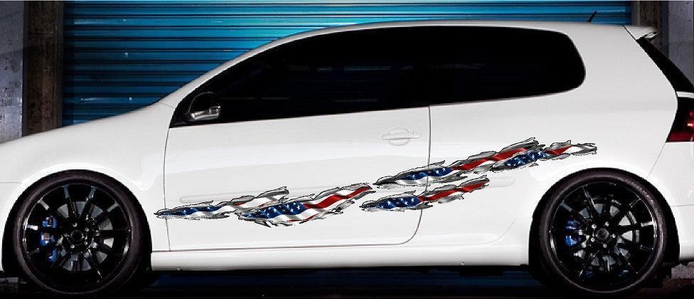 american flag tears vinyl graphics on white car