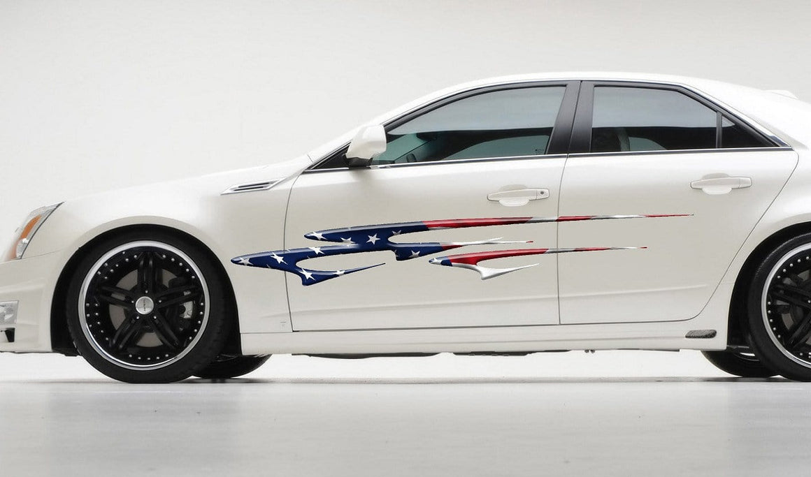american flag stripes on white sports car
