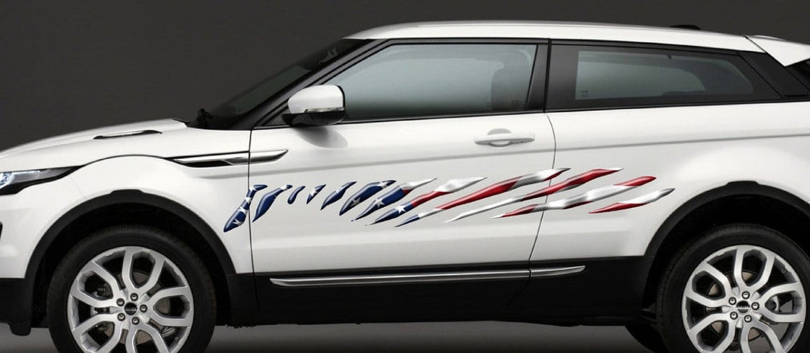 american flag graphic stripes on white suv