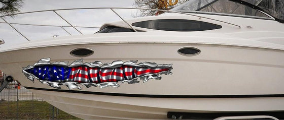 american flag tear vinyl graphics on boat