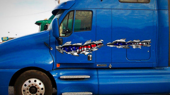 american flag rip decal on large blue semi