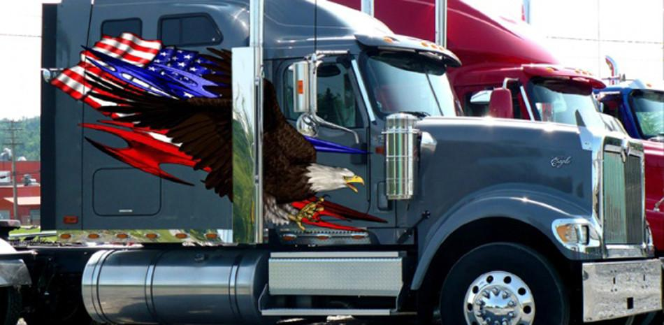 american flag large eagle decal on semi truck