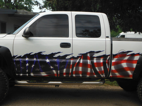 american flag wrap on H2 hummer