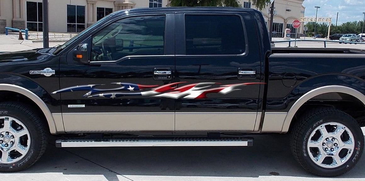 american flag vinyl stripes on truck