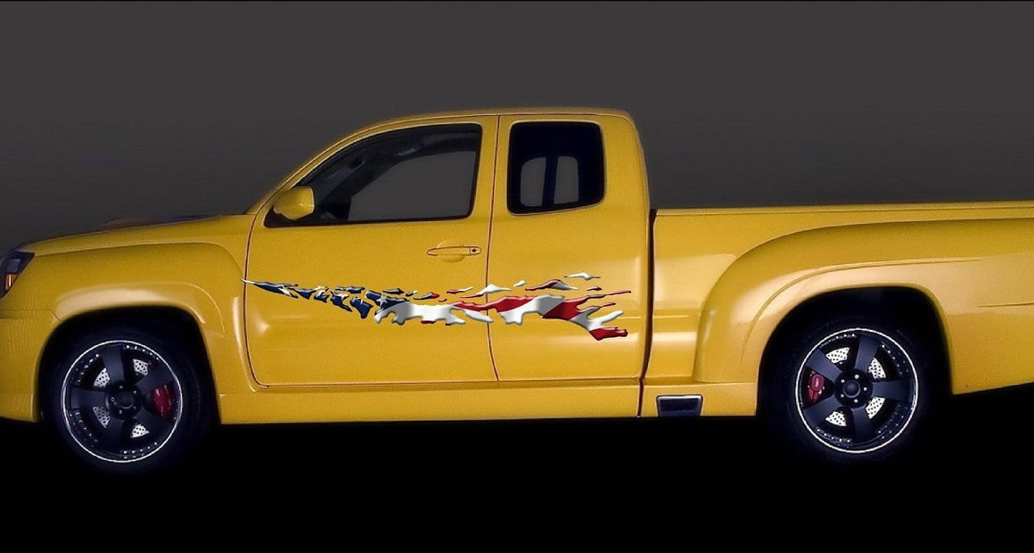 american flag vinyl decals on yellow pickup