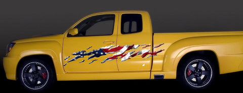 american flag yellow truck decals