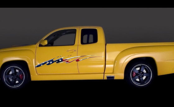 american flag yellow truck graphics