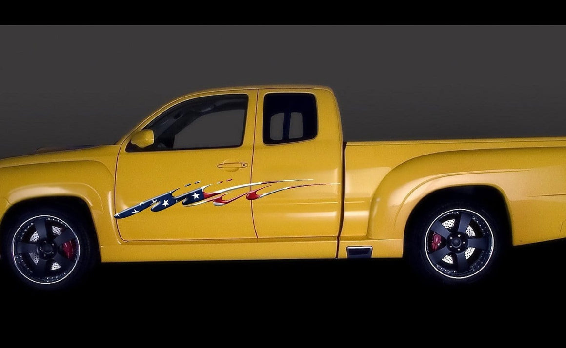 american flag decal on yellow truck
