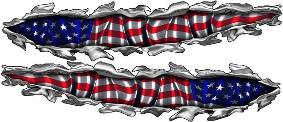 american flag tear graphic decals on boat