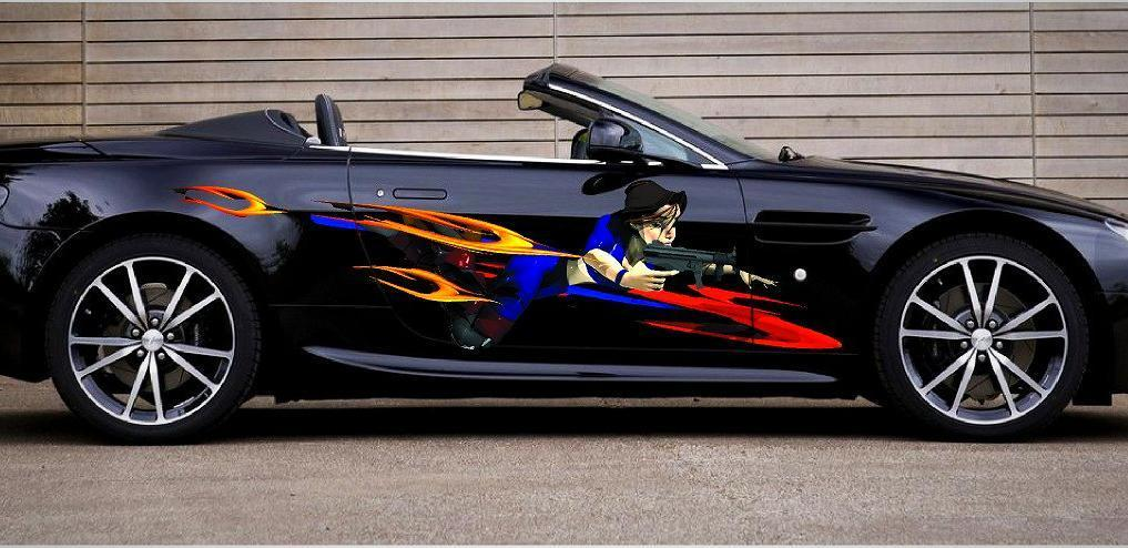 anime girl with gun decal on black car