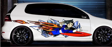 anime girl with gun graphic on white car