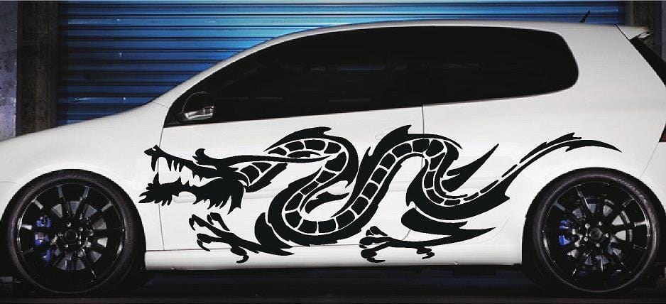 asian dragon vinyl cut decal on white car
