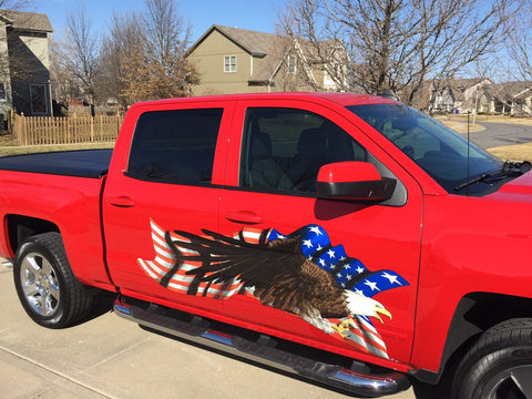 bald eagle american flag decal on red pick up truck
