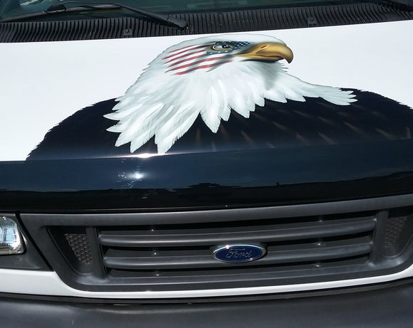 bald eagle with american flag decal for truck hoods