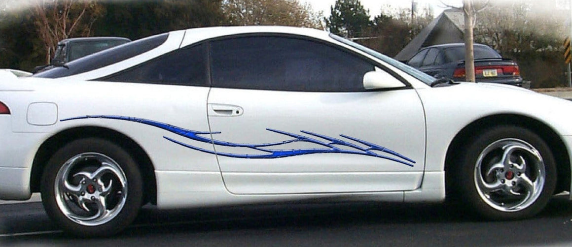 barbwire decals on white car