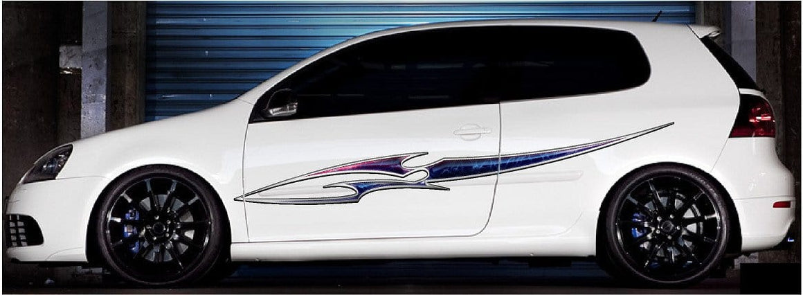 full color blade vinyl decal on white car
