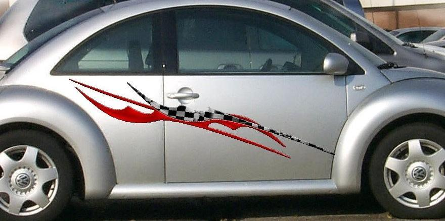 blade checker flag stripe decal on vw beetle
