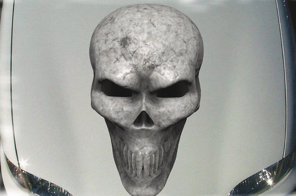 Bone skull vinyl decal for car hoods