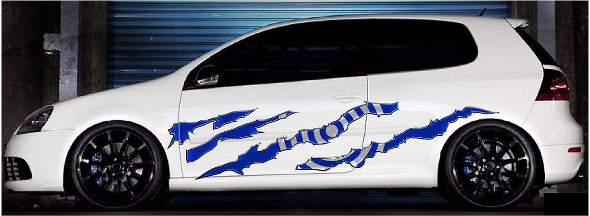 bullseye vinyl stripes decals on white car