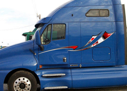 canadian flag decal stripes on blue semi