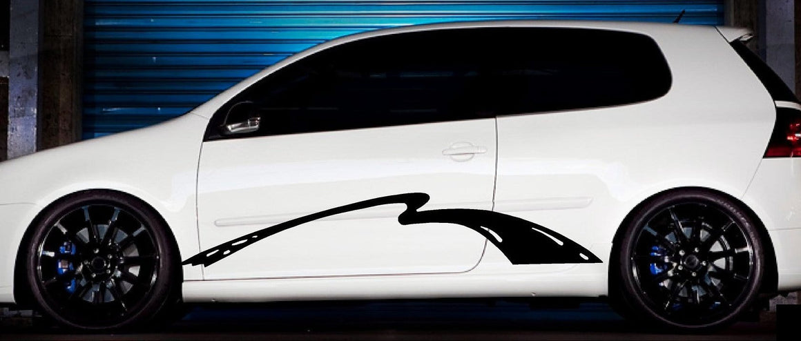 black wave vinyl stripe on white car