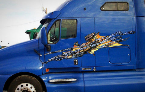 chained dragon Graphics on blue semi