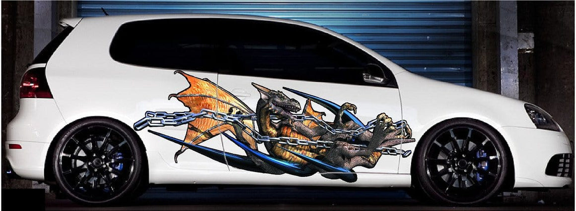 Chained Dragon Vehicle Vinyl Decals Kit Xtreme Digital Graphix