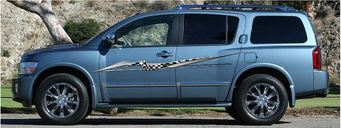 checker flag stripe decal on blue suv