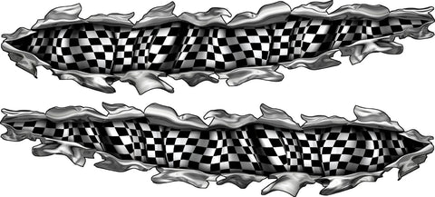 checker flag tear auto decals