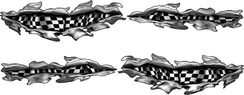 checker flag metal tears auto decals