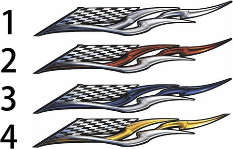 checkers racing wing auto decals color choice