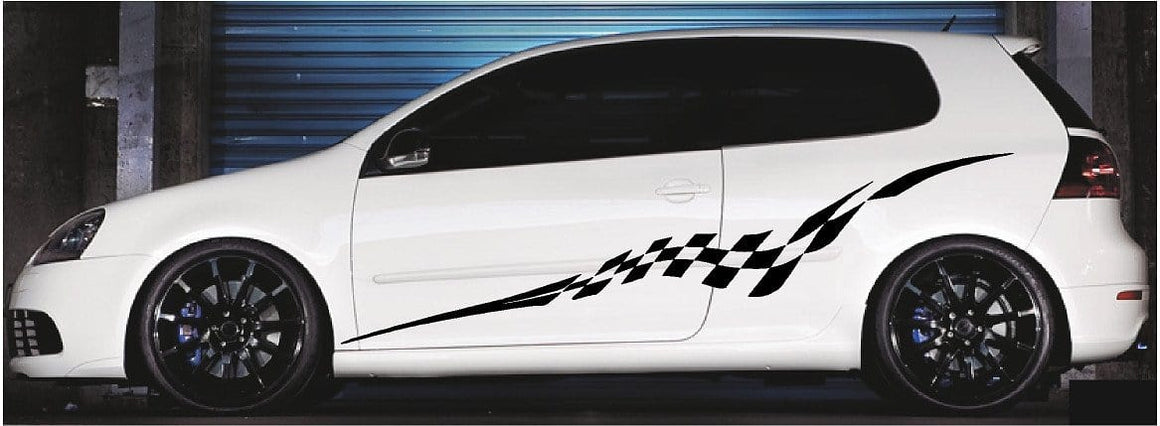 checkered flag stripe vinyl Graphics on white car