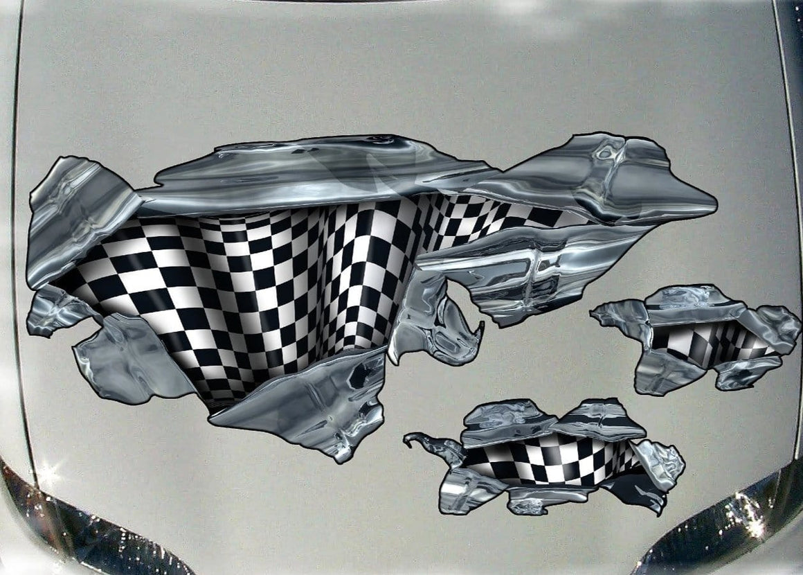 checkered flag racing decals on car hood