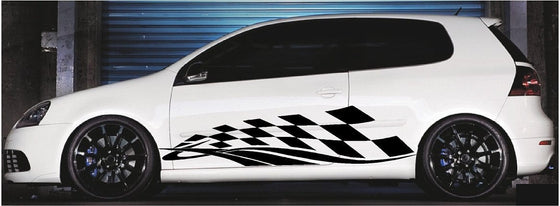 checkered flag vinyl decals on white car