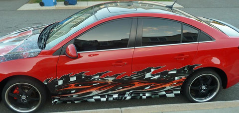 checkered fllag wave car half wrap