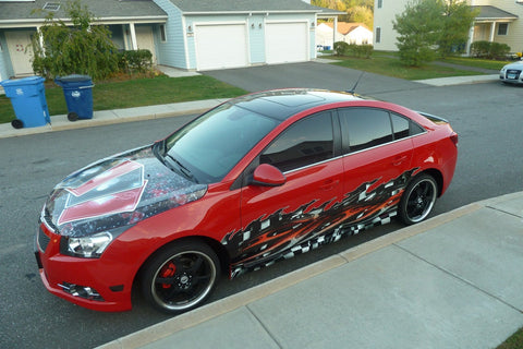checkers racing wrap on red sports car