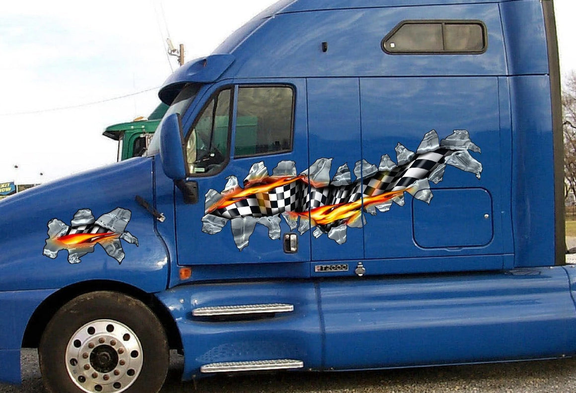 checkers flames tear decals on blue semi