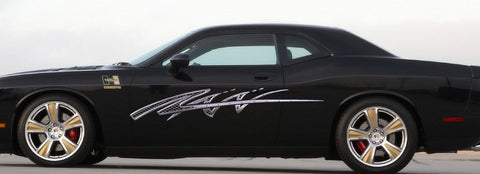 chrome decal on black charger b731