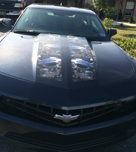 chrome skulls rally stripes decals on camaro hood 2010
