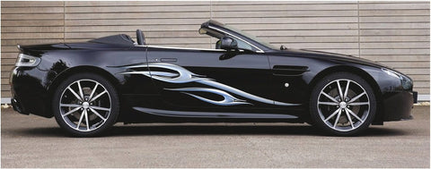 chrome spear decals on black sports car