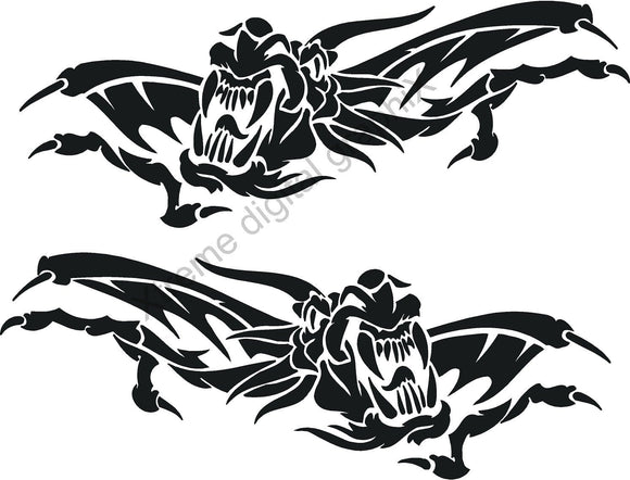 japanese dragon vinyl decal on white audi