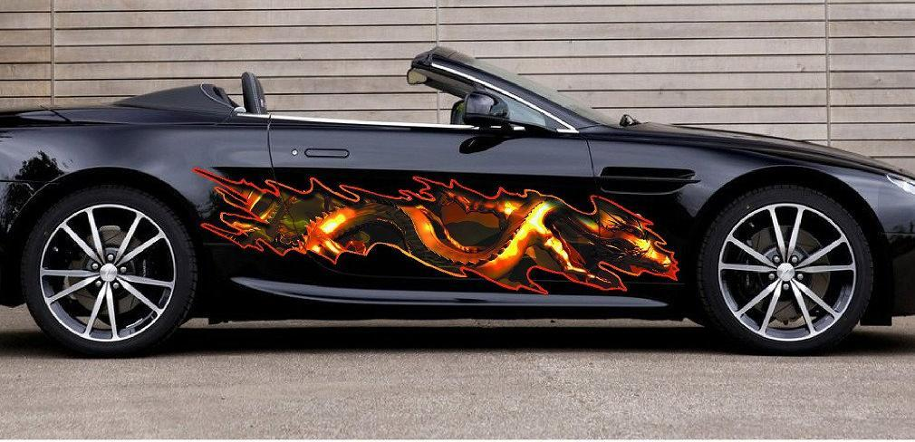 dragon decal on black car