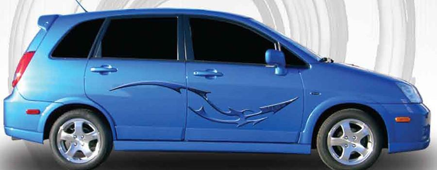 dragon tail vinyl graphics on blue car